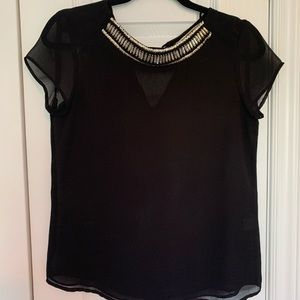 Black blouse with accent colar